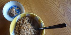 有機玄米で作ったお粥と有機大豆で作った「しょうゆの実」