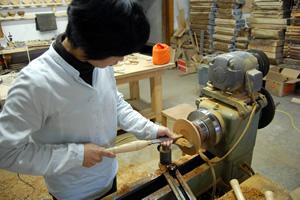 池田の木工体験の様子