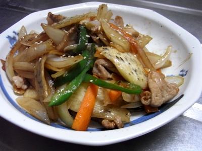 マコモタケ料理(野菜炒め)