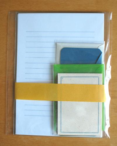 「カキモリ」で買った便箋と封筒、その包装
