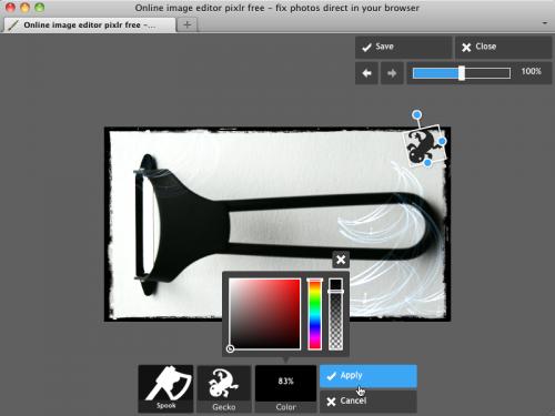 Pixlr Express ステッカー適用画面