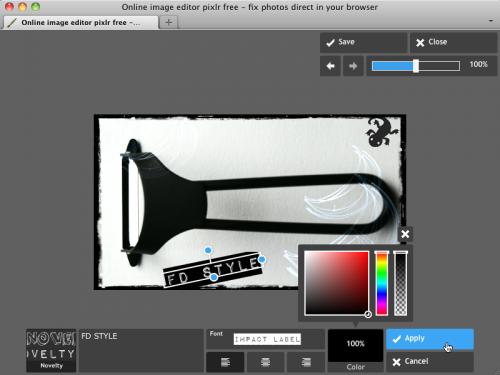 Pixlr Express 文字入れ適用画面