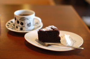 リボンカフェのガトーショコラ、ケーキセット