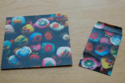ギャラリーtanneのDM(高知子さんの個展)で作ったミニ封筒