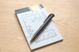 ハチミツ出品の古いペンと名刺サイズのツバメノート